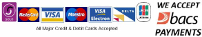 We accept payment with all major credit and debit cards.